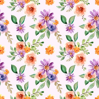 Aquarela sem costura padrão com rosas pêssego e margarida violeta
