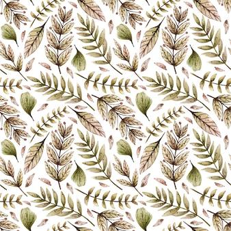 Aquarela sem costura padrão com várias folhas selvagens e plantas.