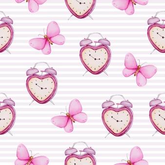 Aquarela sem costura padrão de conceito de amor, elemento de conceito isolado aquarela valentine adorável romântico vermelho-rosa corações para decoração, ilustração.