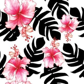 Aquarela sem costura padrão de flores de hibisco.