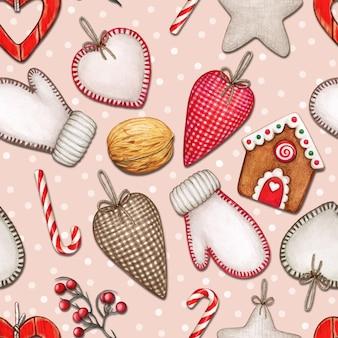 Aquarela sem costura padrão de natal com corações, luvas e guloseimas