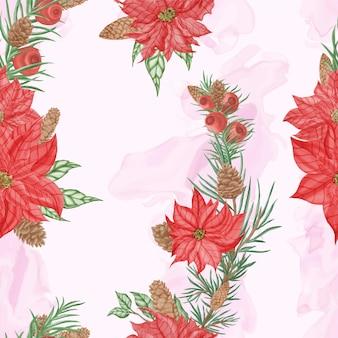Aquarela sem costura padrão de natal com flores e folhas