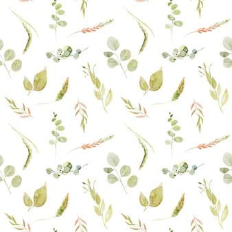 Aquarela sem costura padrão de ramos verdes, eucalipto e espigas