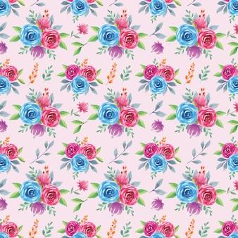 Aquarela sem costura padrão de rosa azul e roxa