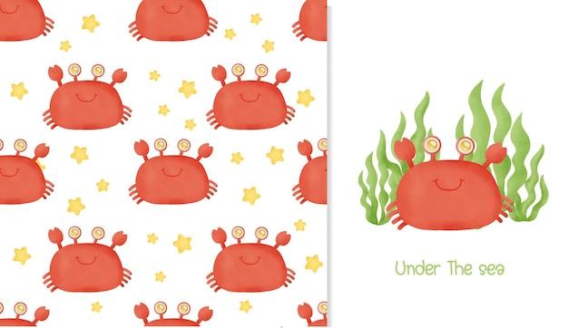 Aquarela sem costura padrão e cartão com caranguejo bonito.