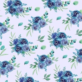 Aquarela sem costura padrão floral com flores rosas azuis