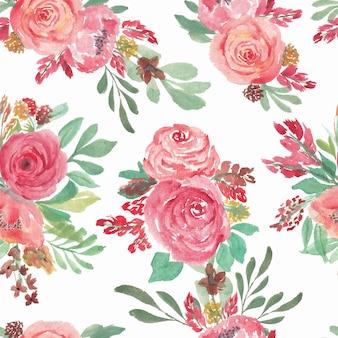 Aquarela sem costura padrão floral com rosa rosa