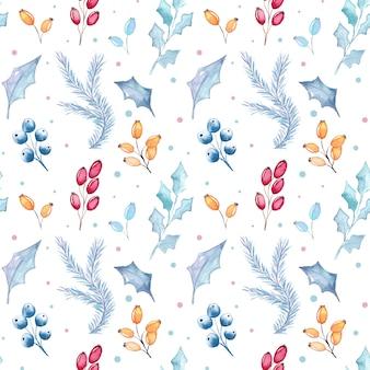 Aquarela sem costura padrão floral de natal