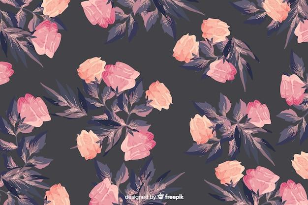 Aquarela sem costura padrão floral fundo bonito