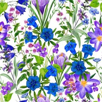 Aquarela sem costura padrão, flores do campo selvagem e ervas