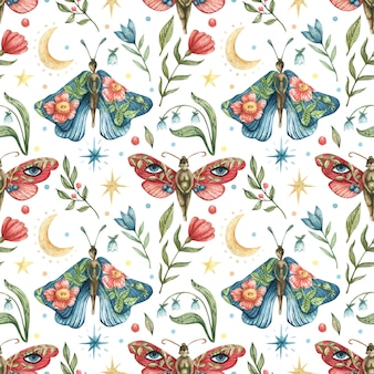 Aquarela sem costura padrão oculto. ilustração de borboletas-meninas, flores, galhos, folhas, bagas, lua, estrelas da noite