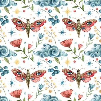 Aquarela sem costura padrão oculto. ilustração de borboletas-meninas, flores, galhos, folhas, bagas, lua, nuvens, estrelas da noite
