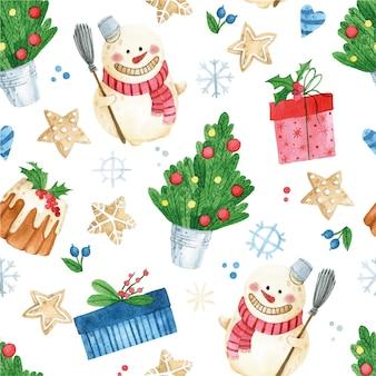 Aquarela sem costura padrão para impressão de natal de ano novo com boneco de neve presentes de árvore de natal