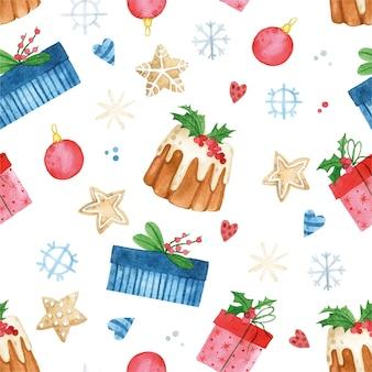 Aquarela sem costura padrão para impressão de natal de ano novo com flocos de neve de presentes de desenhos fofos