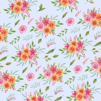 Aquarela sem costura padrão primavera rosa e laranja florais