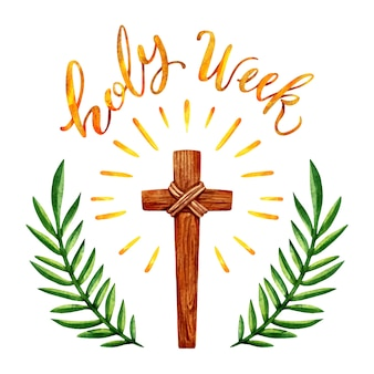Aquarela semana santa com cruz de madeira
