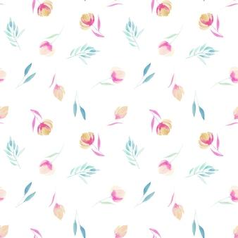 Aquarela simples flores silvestres rosa ramos e folhas padrão sem emenda pintado à mão em um branco