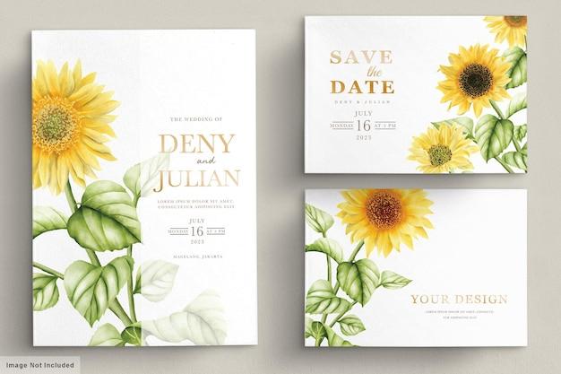 Aquarela sol flor cartão de convite de casamento Vetor Premium