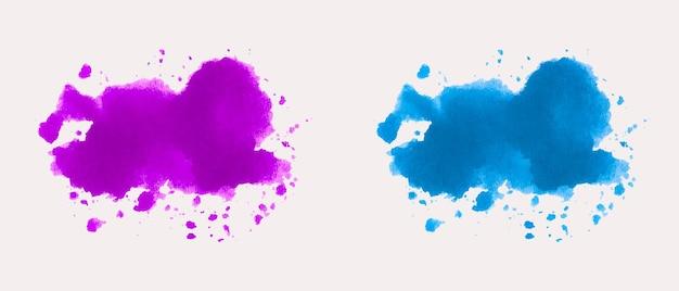 Aquarela splatter stain conjunto colorido
