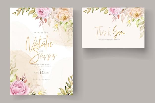 Aquarela suave floral e folhas cartão de convite