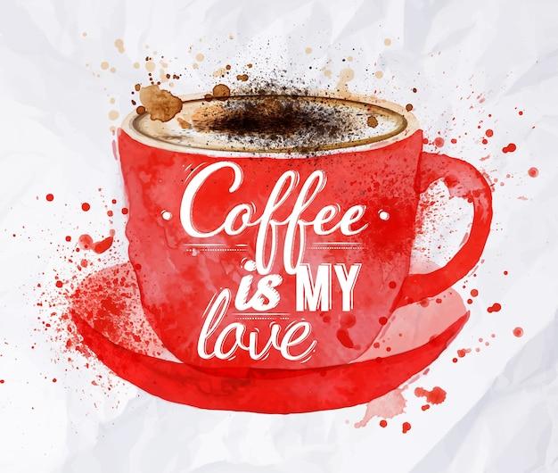 Aquarela taça vermelha de cappuccino