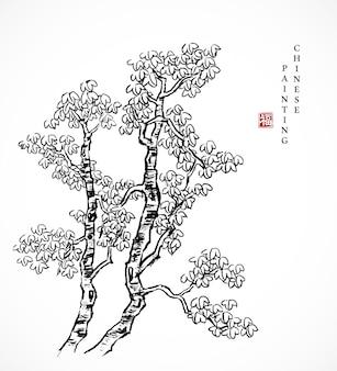 Aquarela tinta pintura arte textura ilustração árvore de guarda-sol chinês.