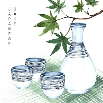 Aquarela tradicional saquê e pauzinhos japoneses
