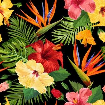 Aquarela tropical flores padrão sem emenda. flores desabrochando exóticas florais mão desenhada