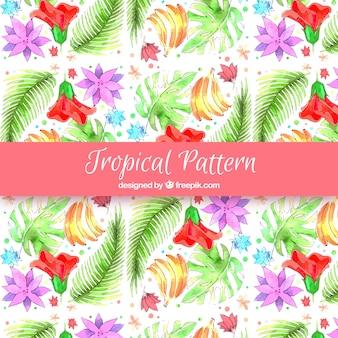 Aquarela tropical padrão com estilo encantador