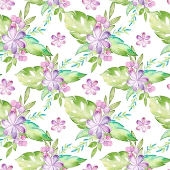 Aquarela tropical padrão sem emenda com flores e folhas