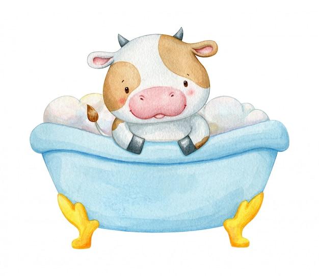 Aquarela vaca sentado em um banho com bolhas. ilustração humorística de crianças isolada