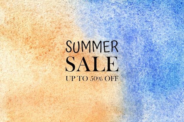 Aquarela venda de verão. aquarelas pintadas à mão com manchas coloridas no papel