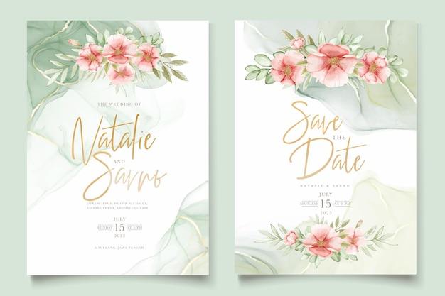 Aquarela verão floral e folhas conjunto de cartão