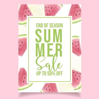 Aquarela verão venda banner melancia rosa