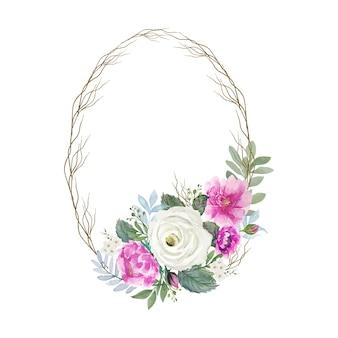 Aquarela vintage bouquet branco e rosa com elipse redonda de moldura de um pequeno ramo de madeira