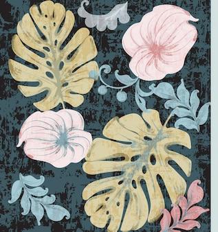 Aquarela vintage folhas de trópico