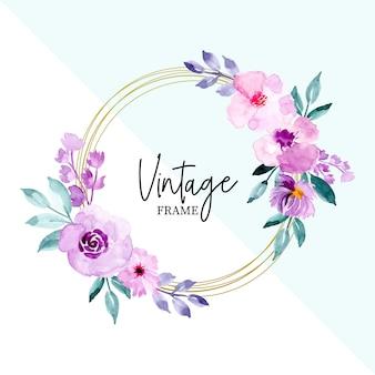 Aquarela vintage moldura floral e folhas