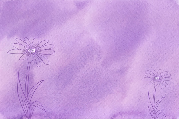 Aquarela violeta com textura de fundo de flores desenhadas à mão