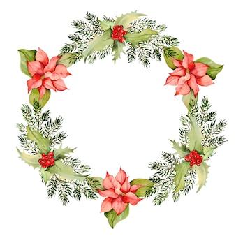 Aquarela wreath com elementos de natal