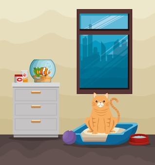 Aquário de tigela com peixe e gato