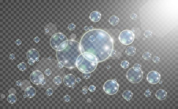 Aquário em um fundo transparente. ilustração de bolhas realistas.