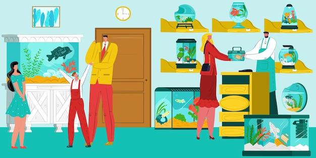 Aquário peixes loja ilustração vetorial pessoas homem mulher personagem comprar indoor animal doméstico goldfis ...