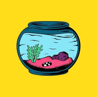 Aquário vazio com plantas e sem ilustração de peixe