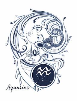 Aquarius do sinal do zodíaco uma menina bonita.