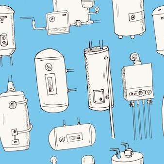 Aquecedor de água, caldeiras desenhado à mão doodle padrão sem emenda