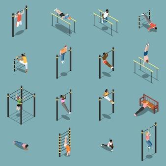 Aquecimento de treino de rua e exercícios em ícones isométricos de equipamento desportivo isolados na turquesa