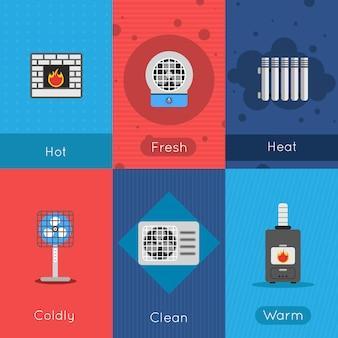 Aquecimento e resfriamento pôster mini conjunto com fresco quente friamente limpar sinais de ar quente isolado ilustração vetorial