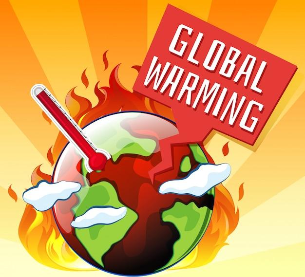 Aquecimento global com a terra em chamas