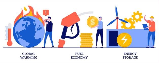Aquecimento global, economia de combustível, conceito de armazenamento de energia. conjunto de efeito de estufa, alterações climáticas.