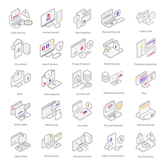 Aqui está um conjunto de ícones isométricos de segurança cibernética com visuais conceituais e conceituais de crimes cibernéticos e proteção que você pode facilmente editar e utilizar de acordo com as necessidades do seu projeto.